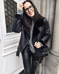 The Day Dreamings - Zara Jacket, Proenza Schouler Bag, Zara Leather Pants, Prada Glasses, Zara Knit, H&M Necklace - Black love