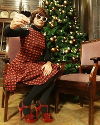 Francesca Di Parma - Prada Glasses, Wolford Bodysuit, Issa London Dress, Wolford Tights, Ysl Sandals - Very happy merry Christmas!