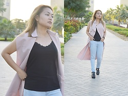ALY - Sheinside Pink Lapel Sleeveless Long Coat - Pink Lapel Coat
