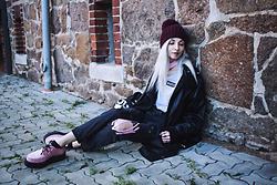 Kimi Peri - The Ragged Priest Neutral Tee, The Ragged Priest Leash Jean, T.U.K. Footwear Pink Suede & Faux Fur Creepers, Accessorize Purple Beanie, Vii & Co. Vegan Leather Jacket, Second Hand Vintage Coat - Whatever