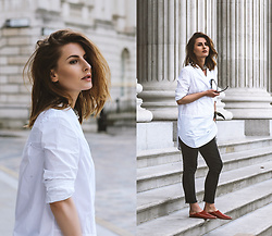 Denisia A. - Cos White Tuxedo Shirt, Uniqlo Black Jeans, Lanvin Silk Scarf - There is beauty in simplicity