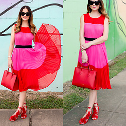 Jenn Lake - Asos Red Pink Colorblock Dress, Strathberry Red Midi Tote, Loeffler Randall Red Tassel Luz Sandals, Quay Sugar And Spice Sunglasses - Red Pink Colorblock Dress