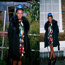 Allysha Johnson - Boohoo Dress, Primark Navy Coat, Primark Pvc Boots, Boohoo Choker - Winter Blues