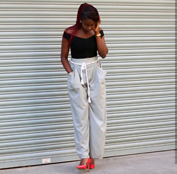 Odette Akoache - Zara Stripped Trousers, Zara Red Pumps, Missguided Bardot Bodysuit - Stipped Pants and Red Pumps