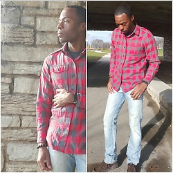 Thomas G - Gap Scarlet Red Flannel, Levi's 511 Strauss & Co, Skechers On The Go, Timex Watch - Pursuing HappYness