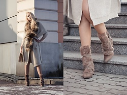 Milady Sandy - H&M Leather Belt, Sammydress Boots With Fur - Winter look.