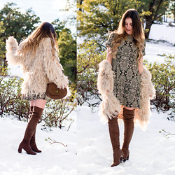 Shelly Stuckman - Free People Coat, Show Me Your Mumu Dress, Charlotte Russe Boots, T Shirt & Jeans Bag - NYE Twenty Sixteen