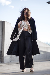 Nicole Dominique - Silk Top (Similar), Wide Pinstripe Pants, Zara Contrasted Toe Cap Heels, Long Wool Coat, Gold Chain Watch - Bringing in the New Year
