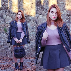 Carina Gonçalves - Mango Leather Jacket, Zaful Sweater, Pull & Bear Skirt, Bershka Boots - We'd keep all our promises, be us Against the world