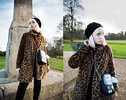 Peaches - Shein Game Over Gameboy Bag, Pull & Bear Faux Leopard Print Coat, New Look Over The Knee Boots - Game Over