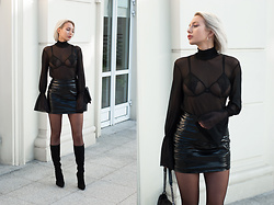 MONIKA S - Mesh Turtleneck Blouse With Gathered Sleeves, Open Cup Lace Bra, High Waisted Leather Mini Skirt, Leather Stiletto Heel Boots, Furry Bag With Chain - SPEAK