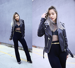 Jessica Tran - Bagatelle Leather Jacket, Urban Outfitters Mesh Black Top, Vintage Sparkly Pants - NYE Look