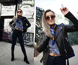 Jessica Tran - Bagatelle Black Leather Jacket, Carman Black Jeans, Zara Black Heeled Boots, Vintage Mickey Mouse T Shirt - Mickey Mouse Club