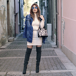 Priscila Diniz - Zerouv Aviator Sunglasses, Chicme Denim Jacket, Chicme Nude Fluffy Set, Fourlove Zebra Handbag, Alexandre Birman High Tigh Boots - To 2017 and beyond!