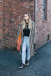Britnie Harlow - The Oxford Trunk Striped Overcoat, The Oxford Trunk Fringe Bucket Bag, Levis Distressed Denim, Free People Boots - Fringe + overcoats