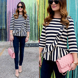 Jenn Lake - J. Crew Asymmetrical Striped Ruffle Top, Chanel Pink Quilted Flap Bag, Paige Denim Skinny Ankle Jeans, Manolo Blahnik Bb Pumps, Urban Outfitters Round Tortoise Sunglasses, Movado Rose Gold Edge Watch - J. Crew Asymmetrical Striped Ruffle Top
