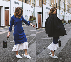 Denisia A. - Citizen Cashmere Blue Dress, Whistles White Dress, Cos Navy Oversized Coat, Coach Rexy Leather Clutch, Anna Field White Sneakers - Winter layering