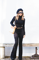 Eliza Romero - Free People Slouchy Black Beret, Quay Australia On The Prowl Sunglasses, Free People Modern Cuff Layering Turtleneck, Topshop Scottie Orange Leather Belt, Free People High Waist Denim Flares, Gucci Bag - Parisian Chic