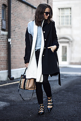 Nicole Dominique - Barney's Baby Blue Turtleneck, Zara Studded Strappy Flats, Nine West Snakeprint Bag, Reiss White Knit Scarf, Black Wool Coat (Similar), Black Skinny Jeans - Baby Blues
