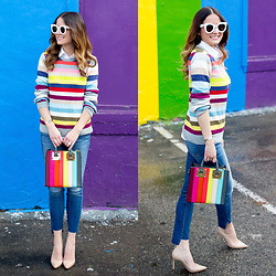 Jenn Lake - Sophie Hulme Rainbow Stripe Albion Tote, Gap Multicolor Stripe Sweater, 7 For All Mankind Step Hem Jeans, Celine White Marta Sunglasses, Manolo Blahnik Nude Patent Bb Pumps - Multicolor Stripe Sweater