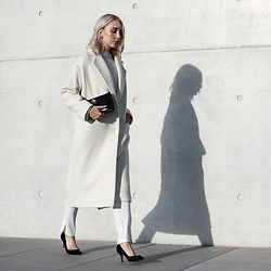 Leonie // www.noanoir.com - Lala Berlin Long White Tailored Coat, Lala Berlin White Double Layer Turtleneck, Lala Berlin White Tailored Pants With Slit, Zara Black Suede Leather Mid Heel Pumps, & Other Stories Leather Fold Over Clutch, Cos Silver Geometric Statement Earrings - Fresh Start