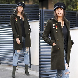 Manuella Lupascu - Choies Coat, Sammydress Hat, Shopbop T Shirt, Shopbop Ripped Jeans, Choies Boots - First of the year