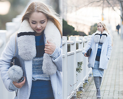Olga Choi - Styled Moscow Fur Scarf, Romwe Knit Set - Fur serenity