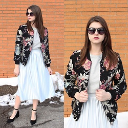 Tracie Marie - Missguided Floral Bomber Jacket, Topshop Pleated Skirt - Bomber Belle of the Ball