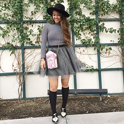 Melany - Zara Oxford Shoes, Betsey Johnson Popcorn Purse, Forever21 Wide Brim Fedora - Let's Tulle Around