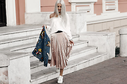 Krist Elle - Simplee Apparel White Knitted Offshoulder Sweater, Simplee Apparel Pink Pleated Skirt, Simplee Apparel Embroidered Denim Jacket - How to wear skirt with sweater