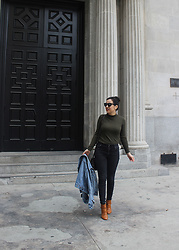 Helen Grace - Uniqlo Ribbed High Neck Long Sleeve, Cole Haan Bonnell Booties - Olive and Black