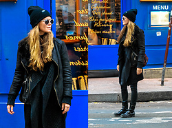 Mina T - Cheap Monday Beanie, Diesel Boots, Diesel Coated Denim, Zara Bag, Diesel Knit Cardigan, Promod Shearling Jacket, Wonderland Sunglasses - Le Marais Paris