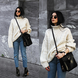 CLAUDIA Holynights - Vintage Swetaer, Vipme Bag, Levi's® Vintage 501 Jeans, Ego Boots, Daniel Wellington Watch + Cuff - Winter knit