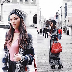 Joanna Aoran - Givenchy Pandora, Revolve Casper Cardigan, Forever 21 Turban, Forever 21 Choker Top, H&M Ankle Boots - K Y O T O