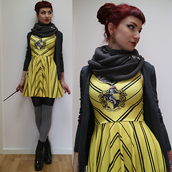 Rabbit Heart - Black Milk Clothing Hufflepuff Skater Dress - Loyal. Patient. Fair.