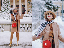 Andreea Birsan - Camel Fedora Hat, Red Crossbody Bag, Camel Coat, Check Scarf, Frilled Turtleneck Sweater, Hoop Earrings, Camel Trousers, Gold Metallic Leather Ankle Boots, Gloves - The camel coat you need this winter