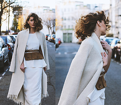 Denisia A. - Maysson Maxi Silk Dress, Vintage Belt Bag, Vintage White Maxi Coat - White winter magic