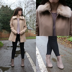 Elle Petite - River Island Faux Fur Collar Coat, Topshop Keyhole Cold Shoulder Top, Moto Joni High Waistedjeans, Quiz Faux Suede Boots - New Year, New Coat