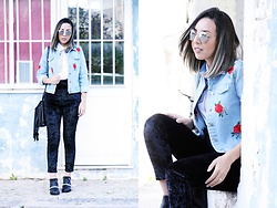 Cá Cavalcant - Denim Jacket, Velvet Pants, Shirt - Roses and Velvet