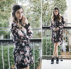 Kassy D - Papillon Floral Blouse Dress, Aldo Cross Ring, American Apparel Braided Choker, Korkey's Ankle Boots - Tu veux ou tu veux pas