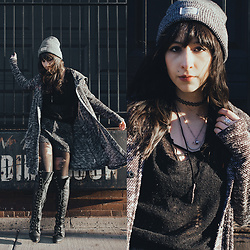 Camila C - Free People Pepper Oversized Sweater, Free People X Jeffrey Campbell Joe Boots, Forever 21 Necklaces, Urban Outfitters Beanie - Take On The World
