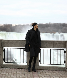 INWON LEE - Byther Black Skull Jacket, Byther Embroidery Padding Pants, Byther Printing Skull Leggings - In front of Niagara falls