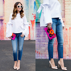 Jenn Lake - Style Mafia White Bell Sleeve Top, 7 For All Mankind Step Hem Jeans, Loeffler Randall Pink Embellished Clutch, Salvatore Ferragamo Emy Pumps, Celine White Marta Sunglasses - White Bell Sleeve Top