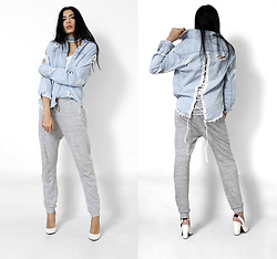 Yatri P - Missguided Shirt, Primark Joggers, H&M Shoes - LACED UP DENIM