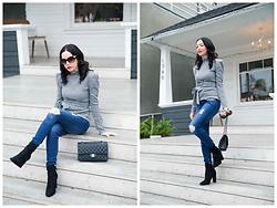 Lisa Valerie Morgan - Adriano Goldschmied Jeans, Steve Madden Booties, Chanel Bag - Grey Sweater Weather