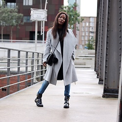 Emma Brown - Mango Coat, River Island Boots - Grey coat
