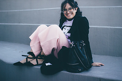 Aika - Boohoo Black Duster Coat, Forever 21 Gray Ribbed Turtleneck, Romwe Smoking Girl Print Shirt, Mustard Seed Pink Pleated Culottes, Forever 21 Black Convertible Backpack Purse, Bamboo Black D'orsay Lace Up Flats - Pink Ninja