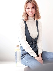 Anastasiia G - Sammydress Knit Turtleneck Sweater, Sammydress Denim Overall - Start Your Day With A Glass Of Lemon Water