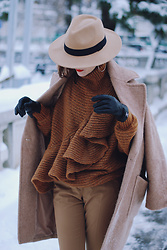 Andreea Birsan - Camel Coat, Ruffled Turtleneck Sweater, Camel Fedora Hat, Hoop Earrings - The lady in camel