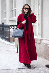 Nicole Dominique - Long Red Coat (Similar), Prada Saffiano Lux Bag, Open Toe Booties, Club Monaco Crewneck Knit Sweater, Ann Taylor Black Flare Dress Pants - Date Night in the Perfect Red Coat